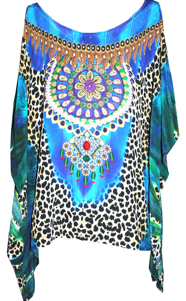 SOLD OUT Pre-Order 3 Weeks. Top short kaftan laopard print. Lost Paradise
