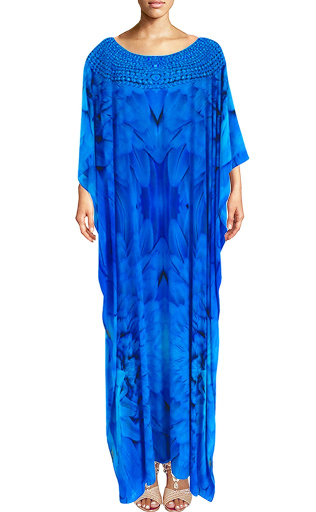 SOLD OUT Pre-Order 3 Weeks. Kaftan in silk majestic plumage glistening necklace. Angel ...