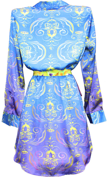 Kimono jacket ladie shirt. Royalty blue