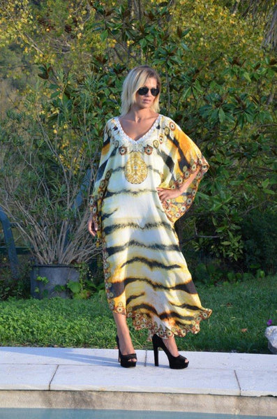 kaftan dress Tigresse in silk. Tiger fur