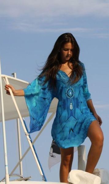 Blue silk tunic majestic plumage glistening necklace.Angel