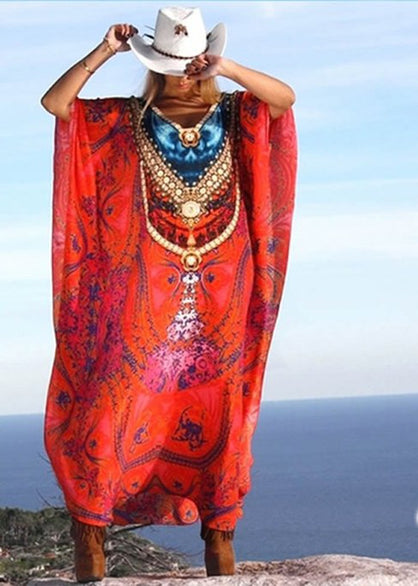 Red silk Kaftan. Rose des Sables