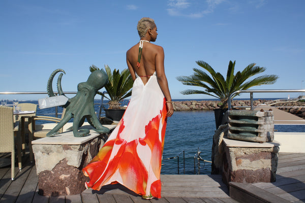 Long V-Neck Drawstring Silk Dress Orange Roses. Mon Amour.