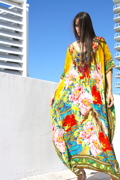 SOLD OUT Pre-Order 3 Weeks. Kaftan Yellow Flowers. French Flowers