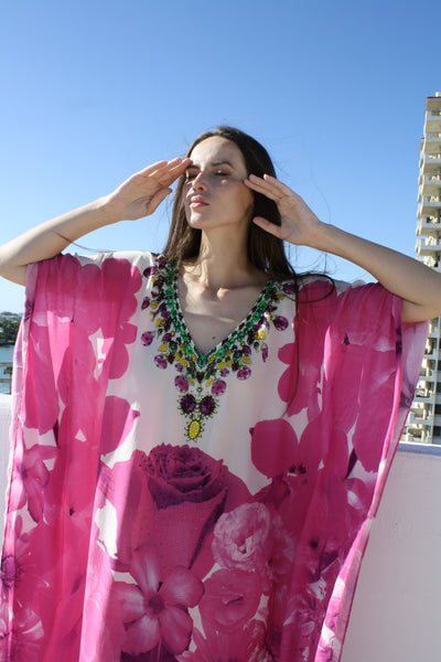 Kaftan in pink Rose Print Dress. French Bouquet