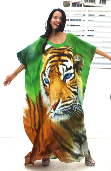 Green Tiger Silk Kaftan New