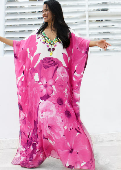 Embellished Kaftan in pink Rose Print Dress. French Bouquet
