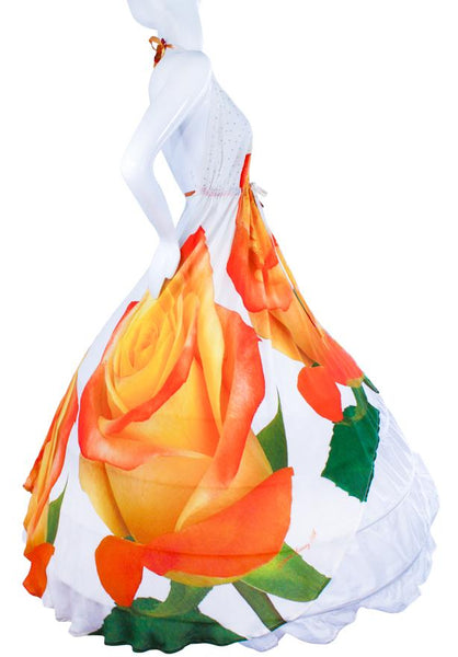 SOLD OUT Pre-Order 3 Weeks. Dress whit beautiful orange Roses. My Love