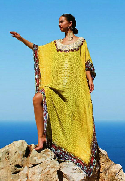 SOLD OUT /VENDU. Noble yellow crocodile scale silk Kaftan. Crocodile