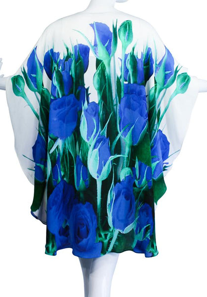 Floral-Print Silk Tunic. Blue Roses