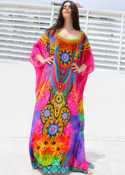 SOLD OUT Pre-Order 3 Weeks. kaftan in silk embellished. Wing's in the garden