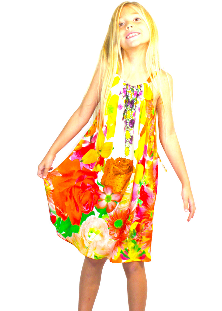 Girls Orange Blossom Dress. French Bouquet