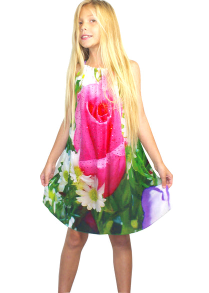 Girls floral dress. Garden of roses