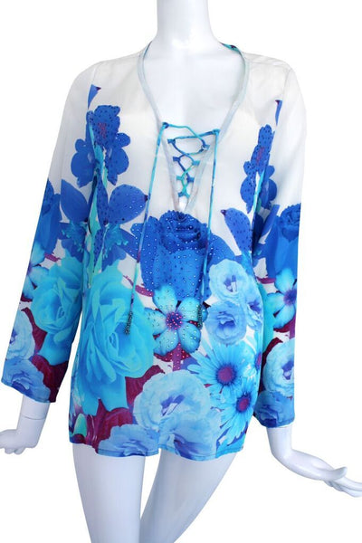 Top Embellished Silk Lace-Up Blouse. French Bouquet