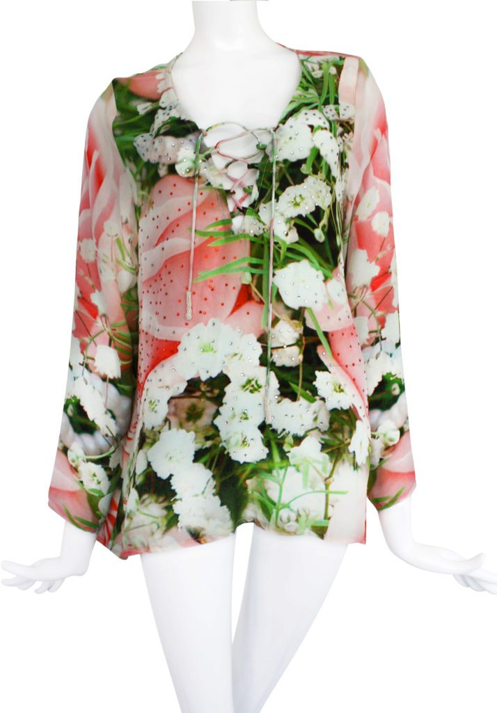 Embellished Silk Lace-Up Blouse, Guardian. French Roses