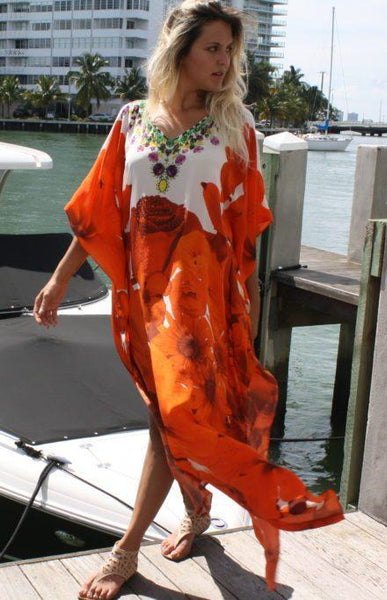 SOLD OUT Pre-Order 3 Weeks. Orange Kaftan beautiful rose. French Bouquet