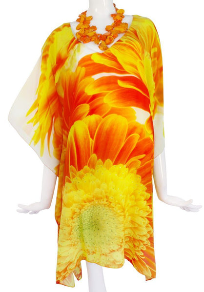 Marguerite. Glorious silk tunic bright amber marguerites.