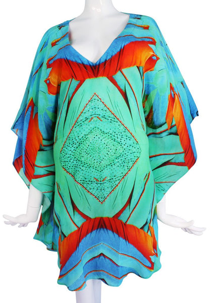 Emerald feathers silk tunic. Emerald feather
