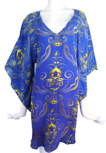 SOLD OUT / VENDU. Royalty blue Silk  tunic.