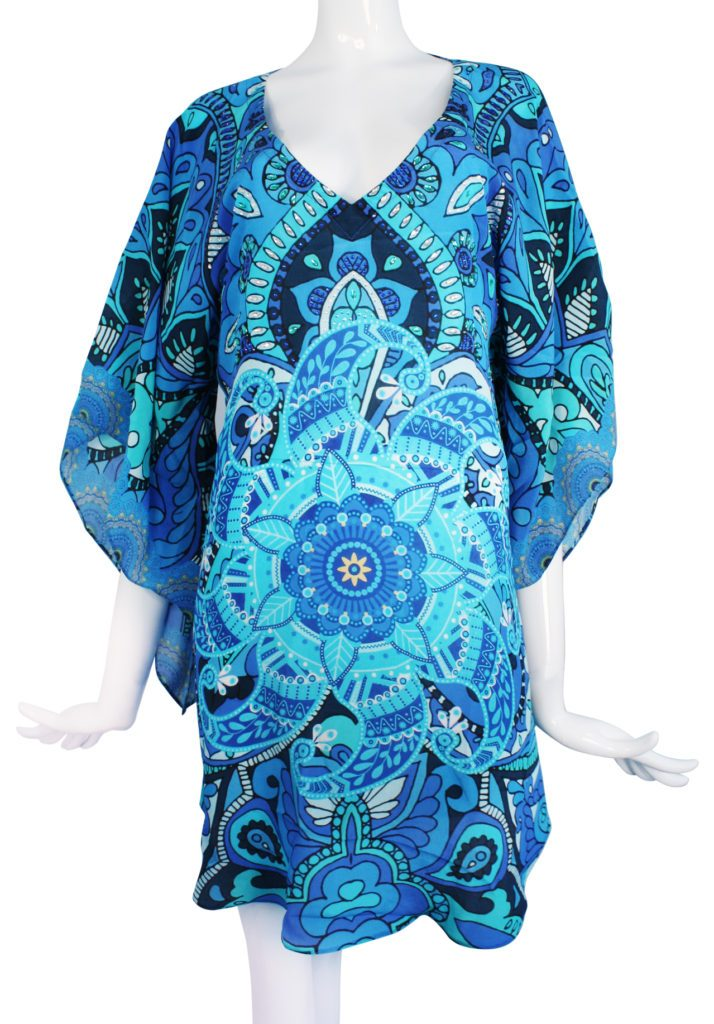 SOLD OUT Pre-Order 3 Weeks. Blue silk tunic mini dress. Mystere