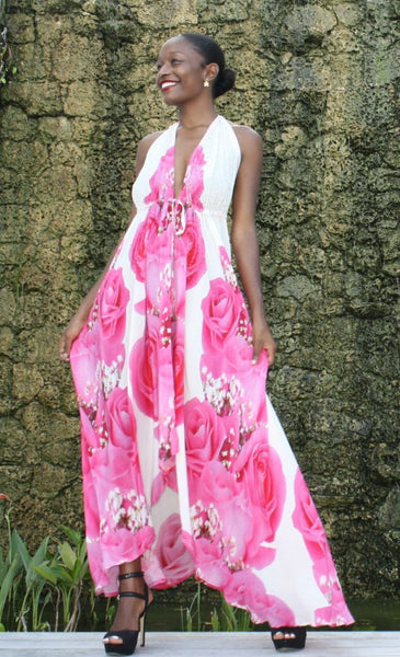 Dress with Pretty pink Rose. La vie en rose
