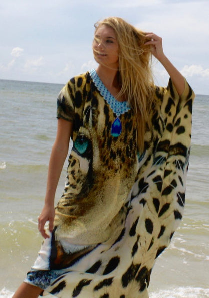 SOLD OUT Pre-Order 3 Weeks. Kaftan embellished. Leopard