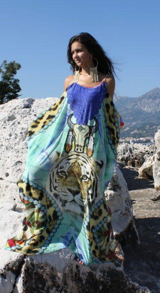 SOLD OUT Pre-Order 3 Weeks. Kaftan Dress Tiger Buffalo. Amerindian