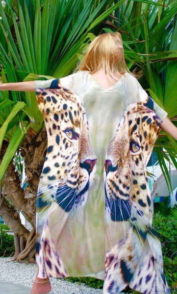 SOLD OUT Pre-Order 3 Weeks. Kaftan in silk Charmeuse. Graceful Cheetahs