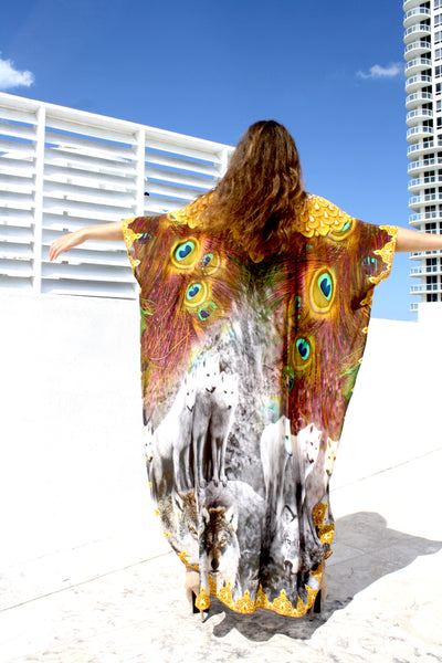 SOLD OUT Pre-Order 3 Weeks. Kaftan in silk modal. wolves