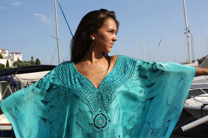Gallery Angel Kaftan turquoise - Victoria Luxury Silk Embellished Kaftan Dress Tunic Cardigan Maxi Dress