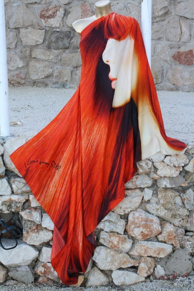 Red hair - Silk Twill Scarf / Sarong