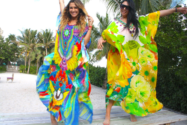 SOLD OUT Pre-Order 3 Weeks. Kaftan colorful feathers. French Caribbean