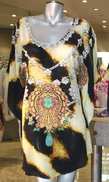 SOLD OUT Pre-Order 3 Weeks. Tunic leopard fur jeweled necklace. Sahara