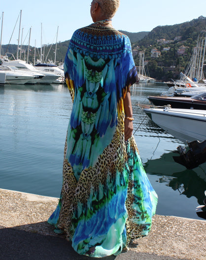 Embellished Silk long Kimono Coverup W/ Belt. Cote d'azur