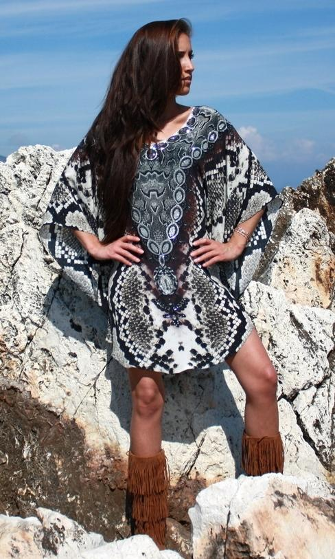 SOLD OUT Pre-Order 3 Weeks. Stunning silk tunic with Python skin - Silver Python
