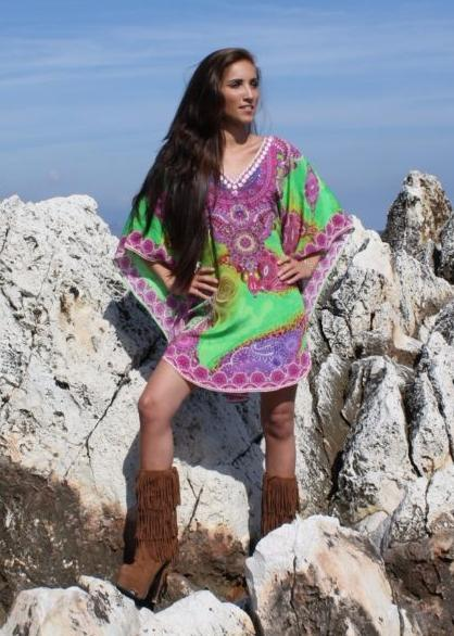 SOLD OUT Pre-Order 3 Weeks. Tunic arabesque flowers.Green Pearl.