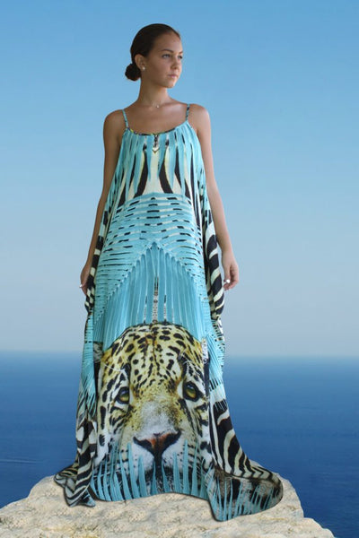 Dress leopard vivid blue. Miami