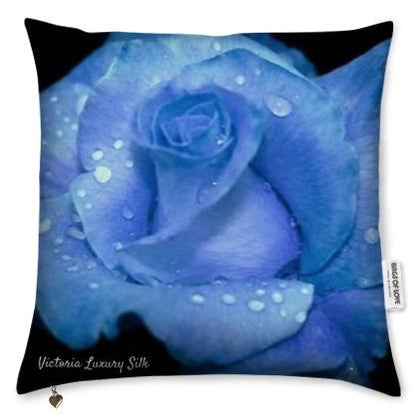Pure silk pillow. Blue Rose