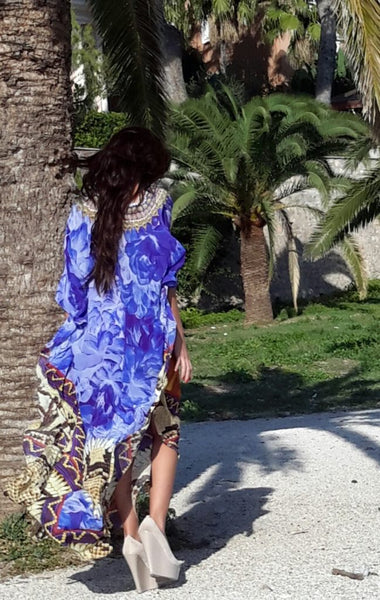 SOLD OUT Pre-Order 3 Weeks. Purple Kaftan wild flowers python. Fleurs Sauvages.