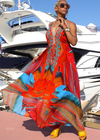 Long V-Neck Drawstring Silk Dress. French Riviera