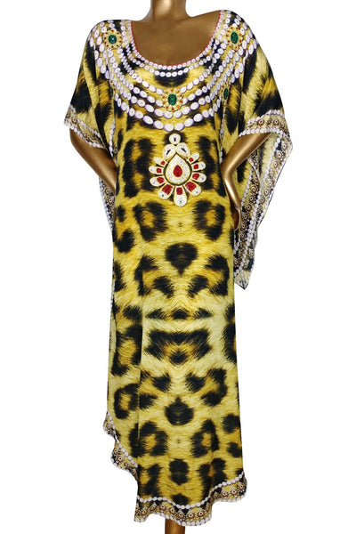 Leopard Dress. Bead Necklaces