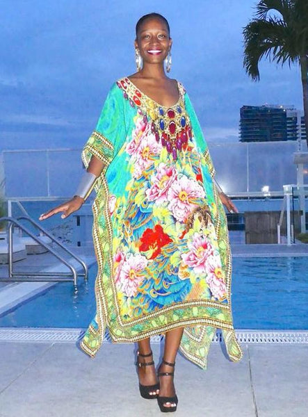 Floral Kaftan with a spiral of flowers. perfume of France