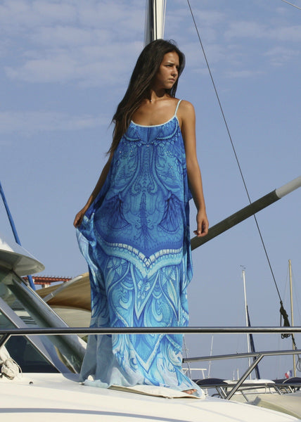 Dress in silk Refined by Artistic Patterns. Monte Carlo