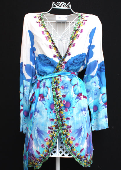 Embellished Silk Kimono Coverup w/ Belt. French Bouquet
