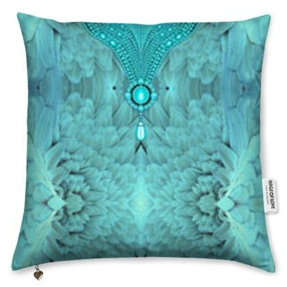 Pure silk pillow. Plumage turquoise - Angel