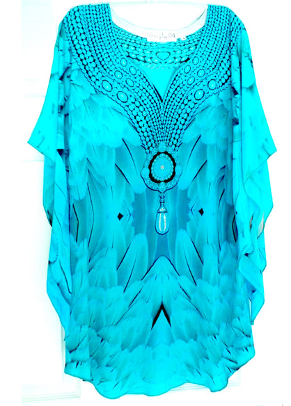 Turquoise Tunic majestic plumage glistening necklace. Angel