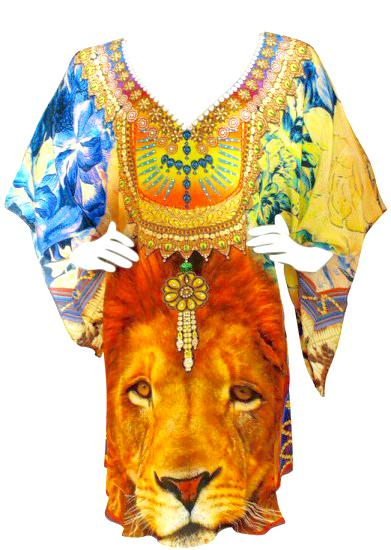Exalted gold lion silk tunic crowned with royal jewels. King