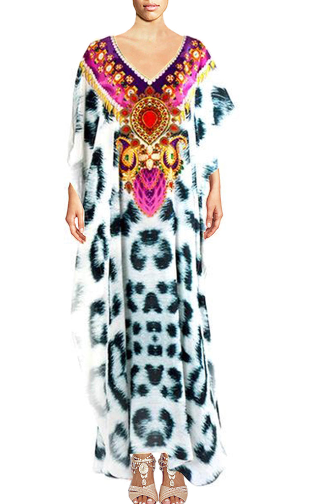 SOLD OUT Pre-Order 3 Weeks. kaftan with leopard fur. Snow Leopard