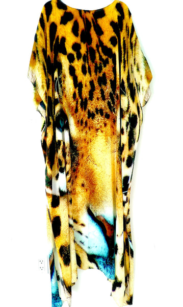 SOLD OUT /VENDU.  Leopard print Kaftan embellished. Leopard