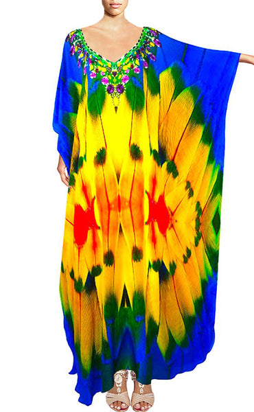 Kaftan colorful feathers. French island